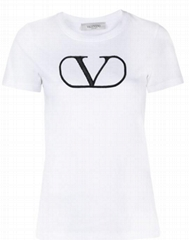 Valentino VLOGO-print T-shirt Women Cotton round neck short sleeves