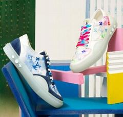 Blue Watercolor Monogram Flowers shoes    Ollie sneaker