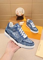 LV Trainer sneaker blue Louis Vuitton Monogram denim men shoes