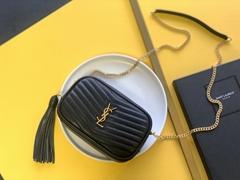 SAINT LAURENT Lou Mini Matelasse Leather Camera Bag     tassel leather bags
