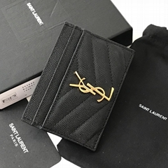 SAINT LAURENT Monogramme quilted textured-leather cardholder     card wallets