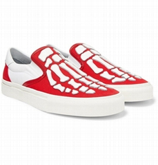 AMIRI Leather Appliqued Canvas Slip On Sneakers Men Red Amiri Skel Toe Slip On