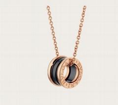 B.zero1 necklace with 18 kt rose gold chain  black ceramic pendant