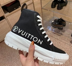 Louis Vuitton LV SQUAD SNEAKER BOOT Women LV logo canvas sneakers
