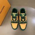 Louis Vuitton LV Unisex LV Trainer Sneaker Green Monogram Embossed Grained Calf