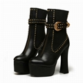 Versace Studded Leather Platform Ankle Boots