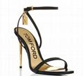 Tom Ford Black GOLD PADLOCK NAKED SANDAL Women ankle sandals