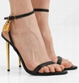 TOM FORD leather Padlock 105mm metallic heel sandals tomford ankle high heel