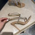 Aquazzura 105mm Moondust Sandals Fashion Moondust 105 crystal strap leather sand