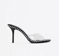 Alexander Wang Black Nova 85 Mules Ladies Wang PVC heel sandals