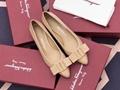 Salvatore Ferragamo Women's Vivanappa Sella Pointed Toe Logo Bow Leather Flats