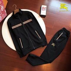 check stripe zipper Tracksuits for Men cotton casual wear