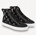 Louis Vuitton LV  black and white monogram velvet Stellar sneaker boot