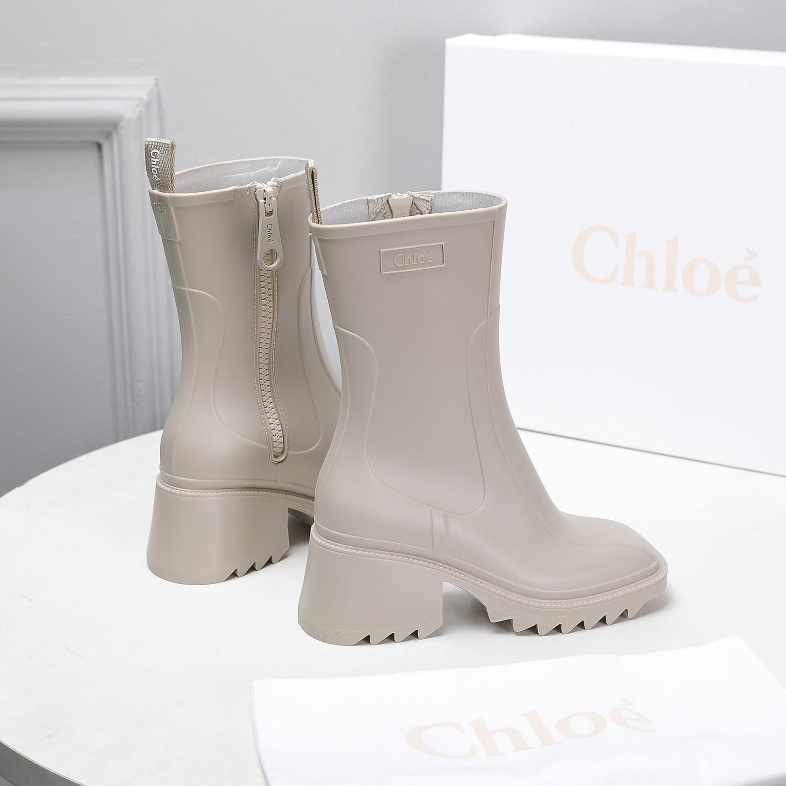 Chloe Betty logo embossed rubber boots Chloe rain boots
