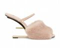 Fendi first pink mink high heeled sandals Fendi first mule