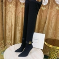 Balmain Raven logo embellished stretch suede over-the knee boots women long boot