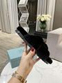 Prada shearling flat sandals women prada triangle logo fur slipper