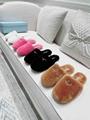 Prada triangle logo fur slippers fashion fur sandal