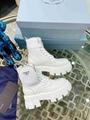 Prada Monolith Leather Nylon Boots White