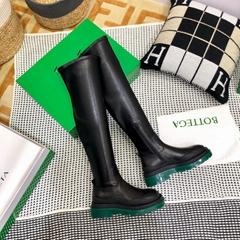 BOTTEGA VENETA Rubber-trimmed leather over-the-knee boots BOTTEGA long boot