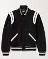 SAINT LAURENT Teddy Leather-Trimmed Virgin Wool Blend Bomber Jacket YSL Baseball