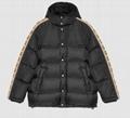 Gucci GG Jacquard Taped Sleeve Logo Down Jacket Black Men jacquard nylon padded