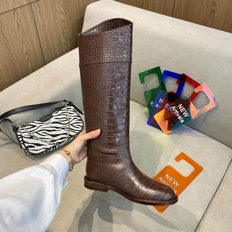 FENDI FF Karligraphy croc leather knee-high boots Women Knight boots