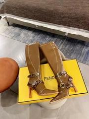 Fendi Glossy Beige Neoprene Boots Fendi Knee High Boots