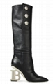 BALMAIN Nelly embellished textured-leather knee boots Women Nelly Logo Heel Boot