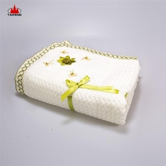 soft touch woven baby knitted flower decorative baby shawl