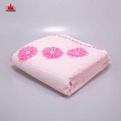 2020 Warm Chunky Soft Australian Brushed striped pattern organic baby knit shawl