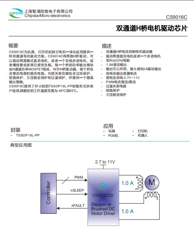 智浦欣微CS9016C双通道H桥电机驱动芯片 1