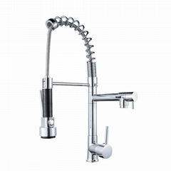 Hot and cold mixed water multifunctional spring pull kitchen faucet