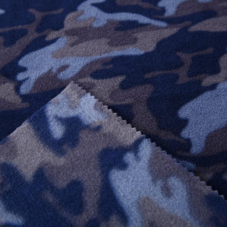 New design soft knitted polar fleece fabric camo 100%polyester for jacket men  2