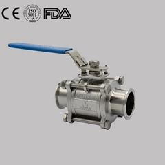 Sanitary Stainless Steel Manual Hygienic 3 PCS Non Retention Ball Va  e