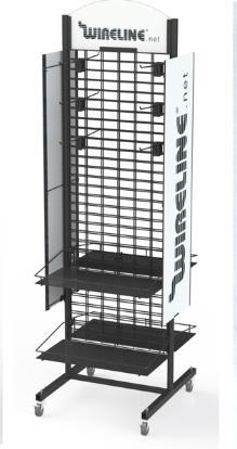 Floor-to-ceiling double screen display rack 1