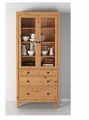 Solid wood bookcase Dust proof glass shelf floor cypress with door shelf free co