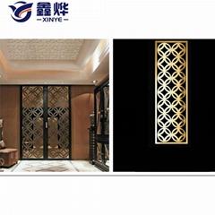 新中式简约轻奢金属 不锈钢屏风 镂空花格客厅移动隔断墙定制