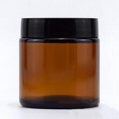 8oz amber glass jar 3oz straight sided amber cosmetic cream jar with black lid