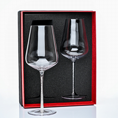 Hand blown rhinestone wine glass 25oz wholesale premium large wine glass with rh