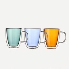 Personalized coloured double layer glass mug insulated double wall coffee mug