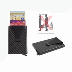 RFID Blocking Carbon Fiber Metal Credit Card Holder With Money Clip Business Car