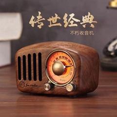 复古蓝牙无线音箱收音机 创意便携迷你音响 实木低音炮音箱