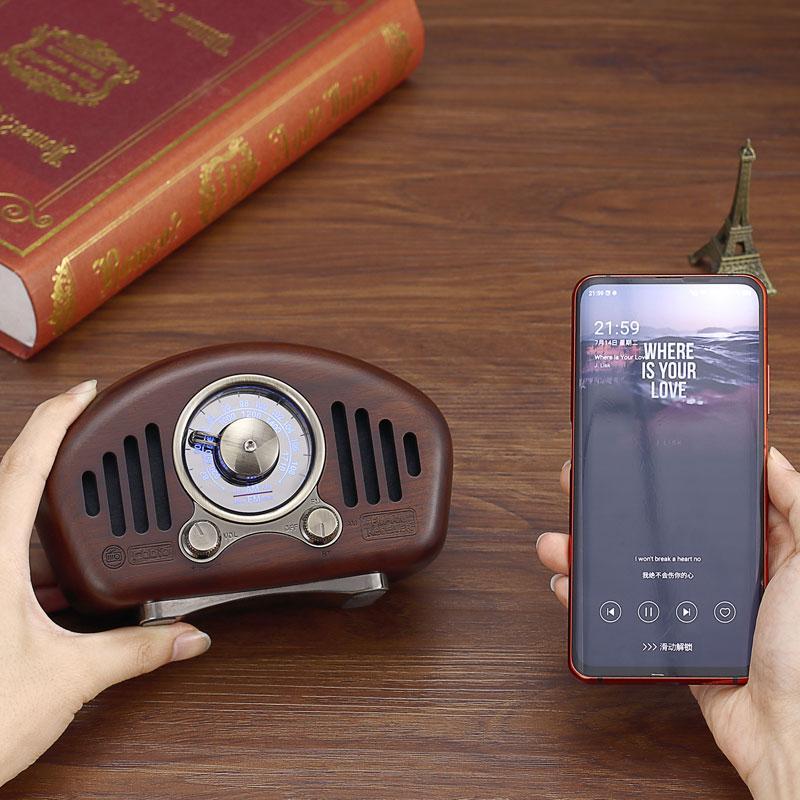 复古造型实木无线蓝牙音箱创意音响收音机 4