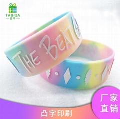 硅胶凸字手环广告礼品旅游纪念品促销演唱会运动会印刷填色