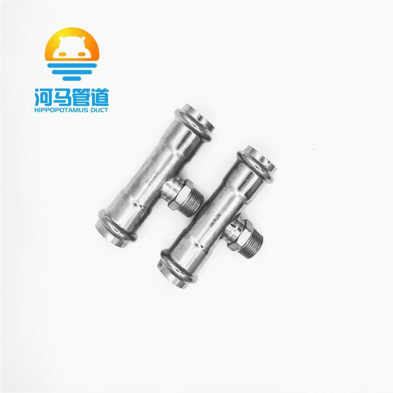304不锈钢双卡压三通外丝三通快速压接DN15-50薄壁水管接头 3