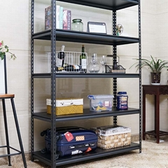 Black boltless display rack and teardrop shelf