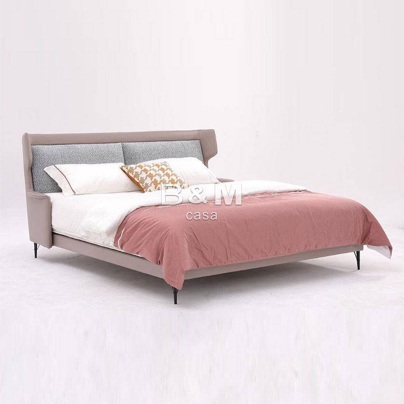 Continental Design Bed   beige upholstered bed    1