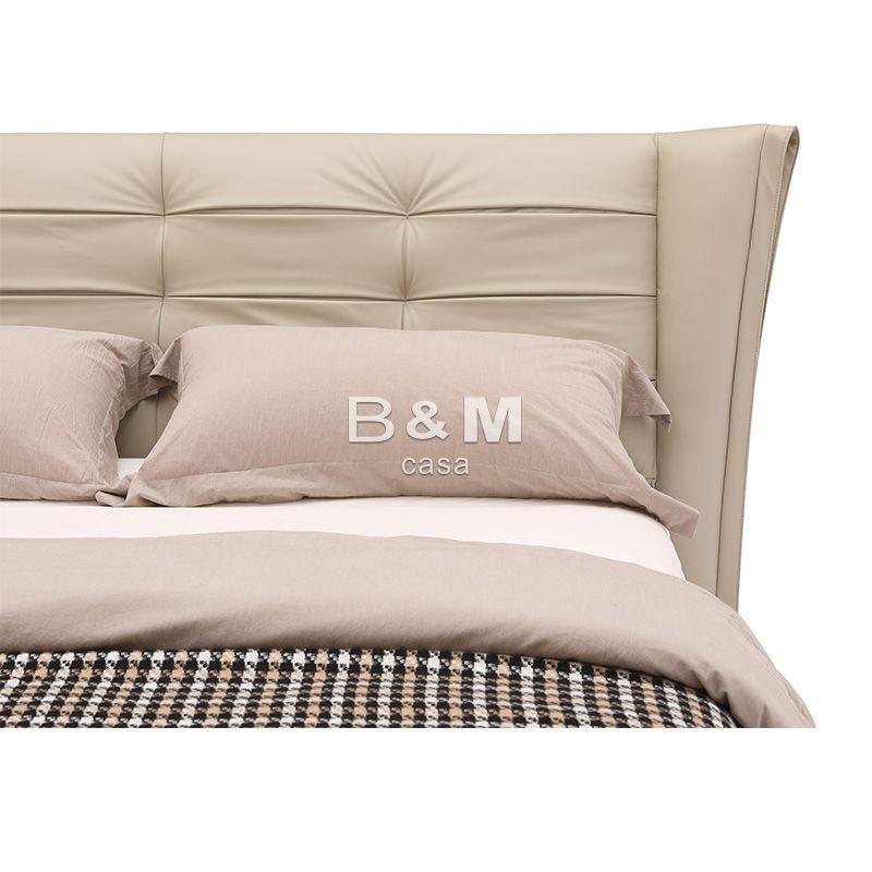 Bed With Unique Headboard   modern leather king size bed  5