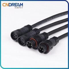 M18防水连接器 电采暖公母插头连接线 养殖场植物灯灯串防水接头